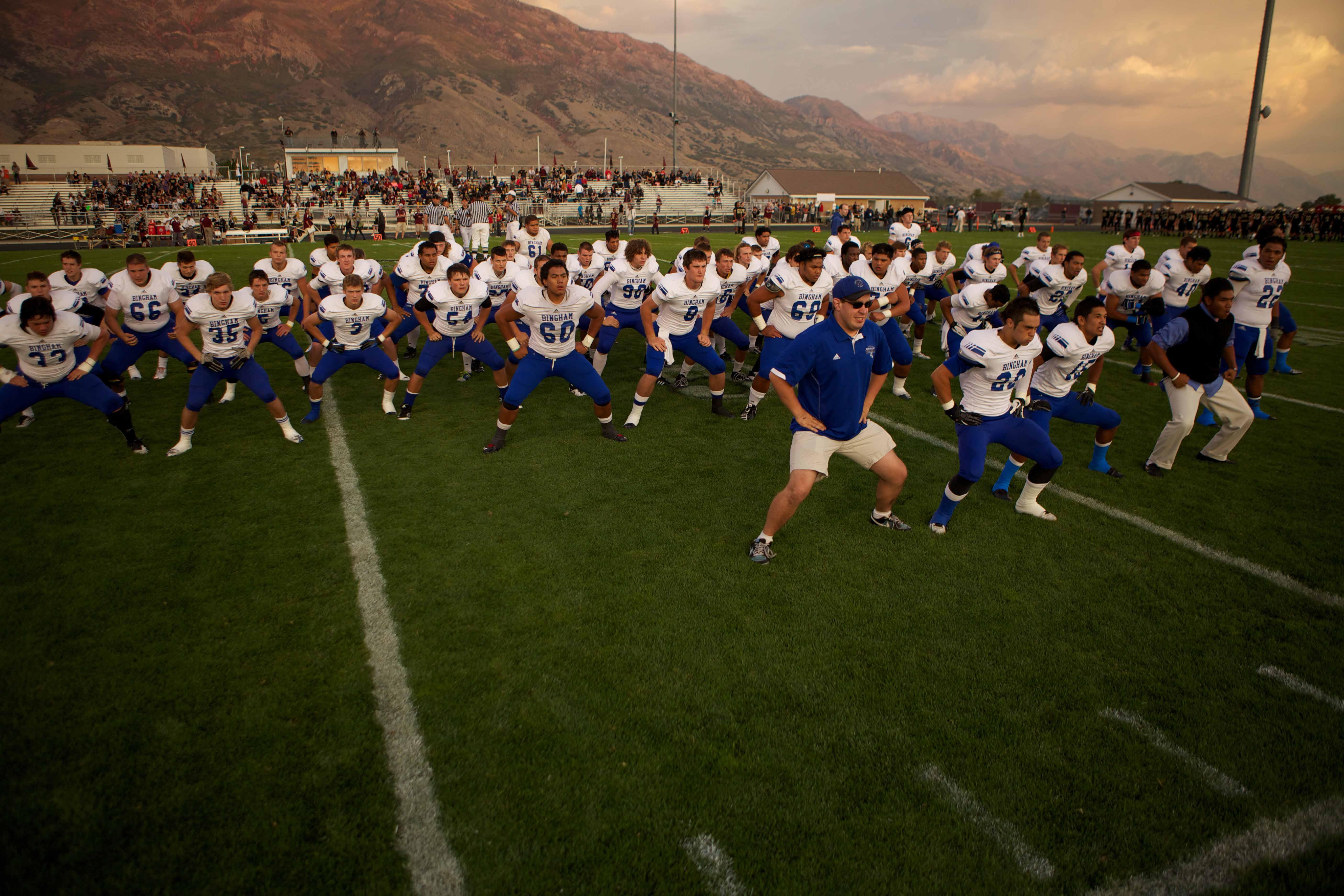The Bingham football team performs their pre-game ritual, the haka.