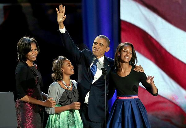 Barack Obama and his family after he won the election.