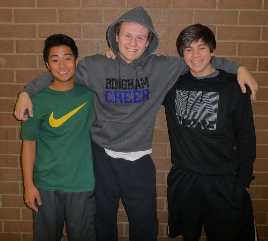 Curtis Finneman (left), Zach Wilkin (center), and Michael Guerrero (right) are three of the four boys who decided to try out for cheer.