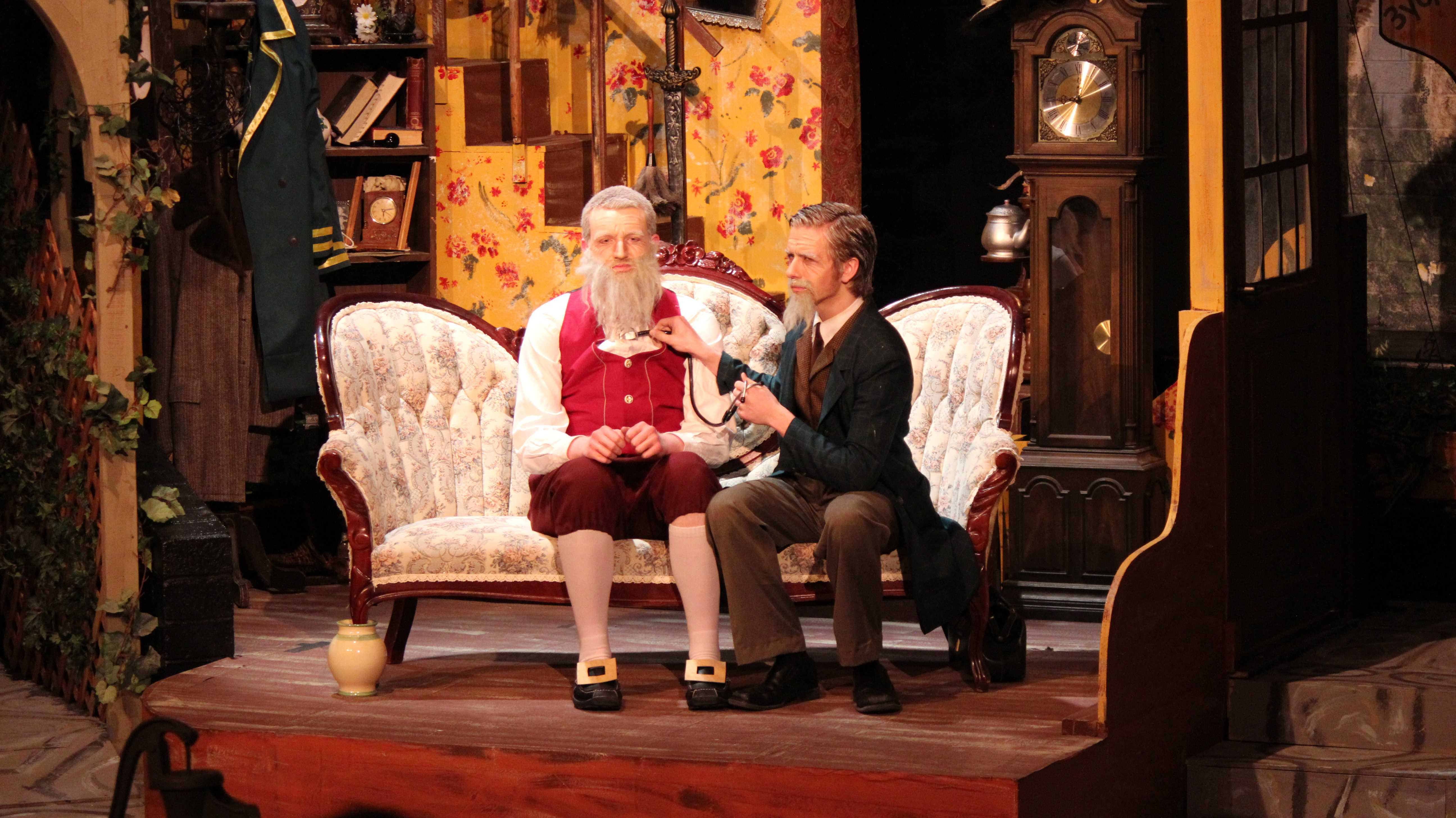 """Addison Dishman and Michael Woodruff  have the audience laughing while they depict a comical scene in the play """"Fools."""""""