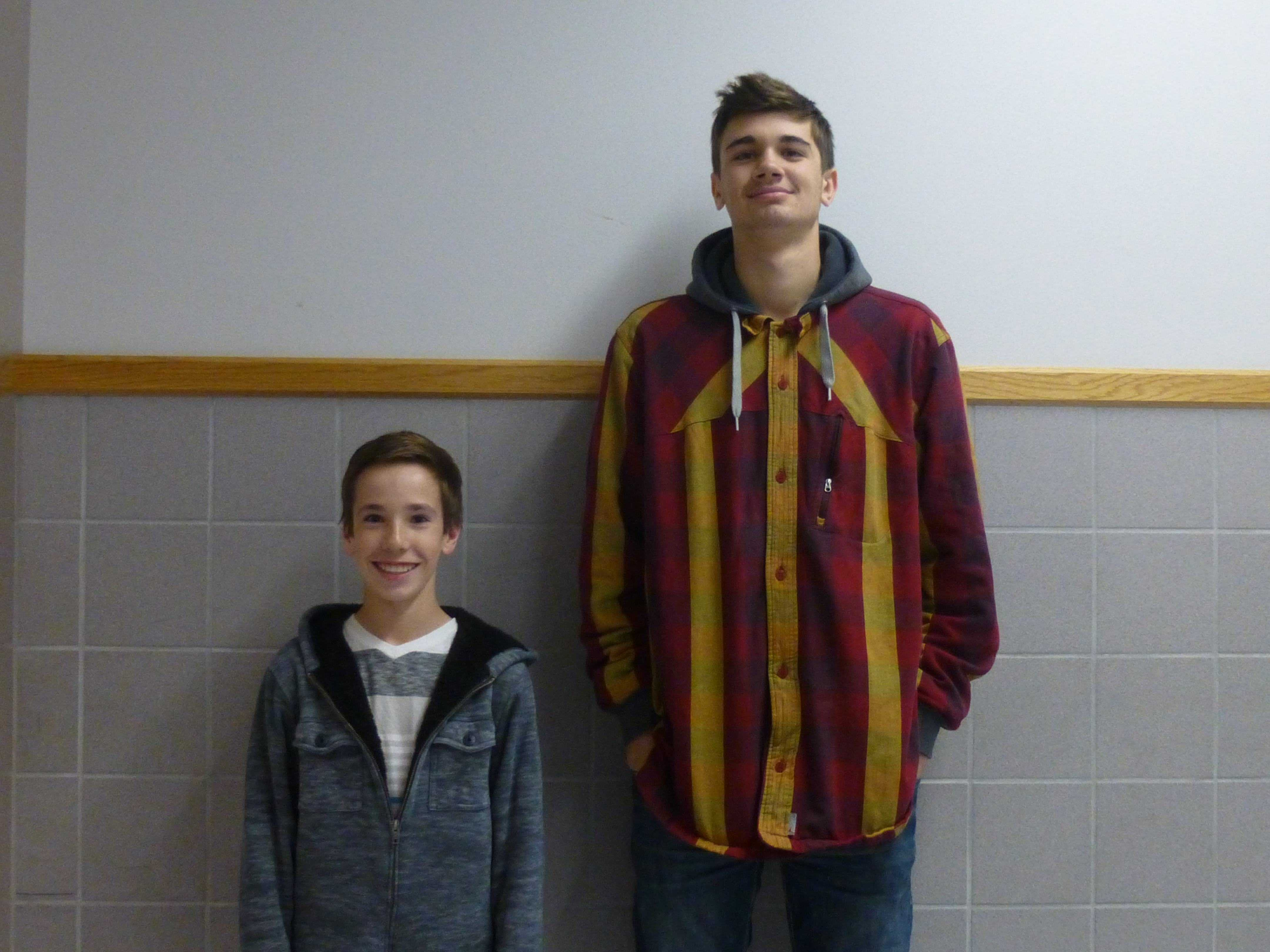 Braden Broadbent and Brandon Morley display the great differences in their heights.
