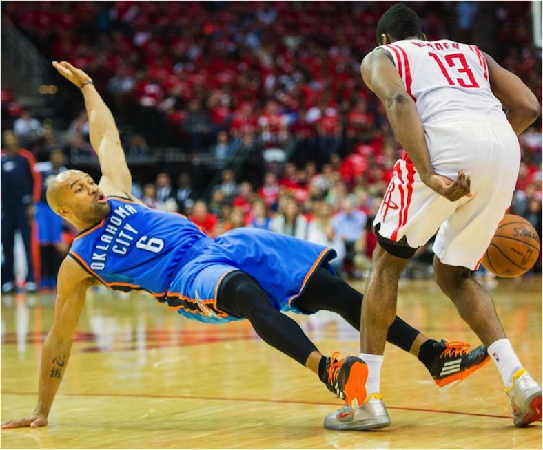 Oklahoma City's Derek Fisher flops like a fish.