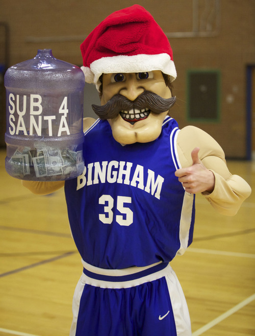 Melvin The Miner shows his true blue spirit and collects donations for charity.
