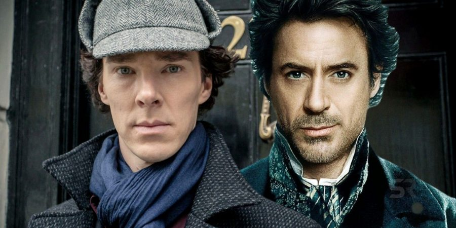 Benedict Cummberbatch next to Robert Downey Jr., both who have played Sherlock Homes