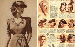 An advertisement for women's fashion from the 1940's.